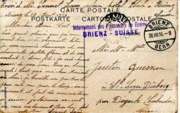 N°74531 -cachet Internement Des Prisonniers De Guerre -Brienz -Suisse- - Militaria