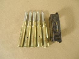 5 Cartouches Cal  6,5X54R Mannlicher Pays Bas (neutralisées) Avec Son Clip - Uitrusting