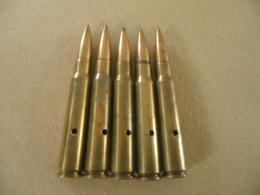 5 Cartouches Cal 7,92 Mauser Allemand (neutralisées) - Equipement