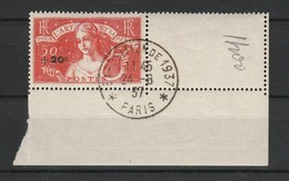 FRANCE 1936 YT N° 329 Obl. Coin De Feuille Exposition 1937 - Usati