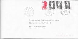 BAS RHIN 67 -  LUTZELHOUSE  -  CACHET RECETTE R A9 -   1992  -  CATALOGUE A. LAUTIER - Marcophilie (Lettres)