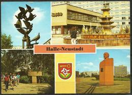 Postcard AK Germany Architecture Halle-Neustadt Taubenbrunnen Fountain Birkenhain Lenin Memorial Posted - Halle (Saale)