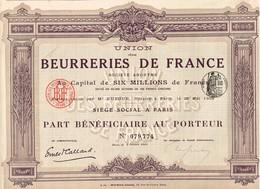 Titre Ancien - Union Des Beurreries De France - Société Anonyme - Titre De 1910 - - Industrie