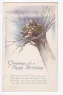 AK34 Greetings - Happy Birthday, Birds - Tuck Watercolour - Birthday