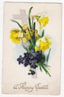 AK34 Greetings - A Happy Easter - Daffodils, Cross, Primulas - Easter