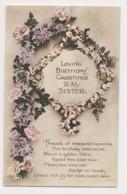 AI70 Greetings - Sister's Birthday, Flowers Wreath And Garland - Birthday