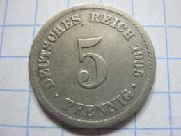 5 Pfennig 1905 (A) - [ 2] 1871-1918 : German Empire