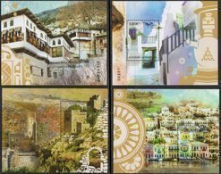 GREECE, 2018, MNH, EUROMED, HOMES, HOUSES,  BOATS, 4  NUMBERED S/SHEETS - Architecture