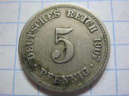 5 Pfennig 1907 (F) - [ 2] 1871-1918 : German Empire