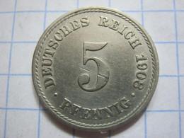 5 Pfennig 1908 (F) - [ 2] 1871-1918 : German Empire