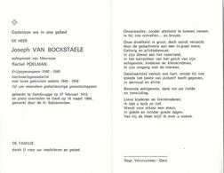 Doodsprentje Van Joseph VAN BOCKSTAELE- Krijgsgevangene 1940-1945- ° GENTBRUGGE 1912 *GENT 1984 - Religion & Esotérisme
