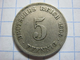5 Pfennig 1909 (D) - [ 2] 1871-1918 : German Empire