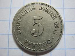 5 Pfennig 1911 (A) - [ 2] 1871-1918 : German Empire