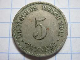 5 Pfennig 1911 (F) - [ 2] 1871-1918 : German Empire
