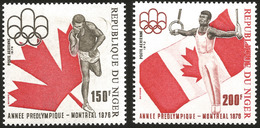 V) 1975 NIGER, PRE-OLYMPIC YEAR, SHOT PUT, GYMNAST ON RINGS, MNH - Niger (1960-...)