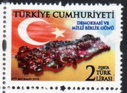 TURKEY, 2018, MNH, FLAGS, DEMOCRACY, SOLIDARITY DAY, 1v - Timbres
