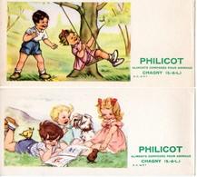 Lot De 2 Buvards Philicot Aliments Pour Animaux - Chagny - Illustration : Scènes Enfantines. - Collections, Lots & Series