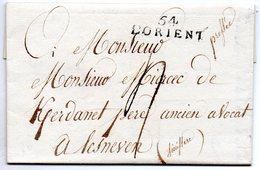 Morbihan - LAC (datée 18 Janvier 1818) Marque 54/L'ORIENT - Marcophilie (Lettres)