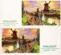Lot De 2 Buvards Philicot Aliments Pour Animaux - Chagny - Illustration : Sur Le Chemin De Halage, 2 Types Différents. - Buvards, Protège-cahiers Illustrés