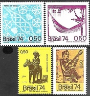 Brazil  1974   Sc#1362-5    Crafts Set  MNH   2016 Scott Value  $6.60 - Brasil