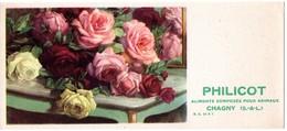 Buvard Philicot Aliments Pour Animaux - Chagny - Illustration : Bouquet De Roses. - Non Classés