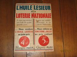 """Affiche Publicitaire """" Huile LESIEUR """" Et La """" LOTERIE NATIONALE """" (fr81) - Afiches"""