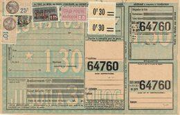16 Plus Plus 35 X 2 Plus 40  Plus Fiscal 25 C. Plus 10 C. Colis Postaux Sur Document Chemins De Fer - Colis Postaux