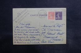 FRANCE - Entier Postal Type Semeuse + Complément De Paris Pour Les Etats Unis En 1929 - L 35763 - Cartes Postales Types Et TSC (avant 1995)