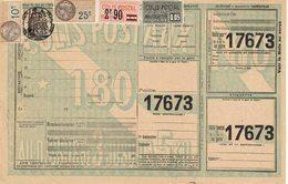 15 Plus 45 Plus Fiscal 25 C. Plus 10 C. Colis Postaux Sur Document Chemins De Fer - Colis Postaux