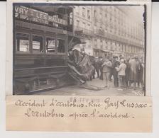 1912 ACCIDENT D'AUTOBUS  RUE GAY LUSSAC PARIS  +-13*9CM Maurice-Louis BRANGER PARÍS  (1874-1950) - Coches