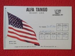 TARJETA POSTAL POST CARD QSL RADIOAFICIONADOS RADIO AMATEUR GRUPPO ITALIA ALFA TANGO USA UNITED STATES FLAG BANDERA..... - Tarjetas QSL