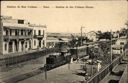 Cp Suez Ägypten, Station De Rue Colmar, Bahnhof, Dampflokomotive - Cartes Postales