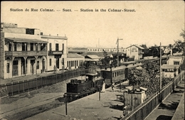 Cp Suez Ägypten, Station De Rue Colmar, Bahnhof, Dampflokomotive - Autres