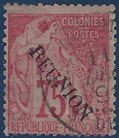 France Colonies Réunion N°27 Oblitéré Dateur TTB Signé Brun - Reunion Island (1852-1975)