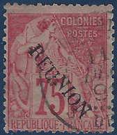 France Colonies Réunion N°27 Oblitéré Dateur TTB Signé Brun - Réunion (1852-1975)
