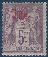 France Colonies Chine Française N°16a Surcharge Carmin TTB & RR Signé Calves - Unused Stamps