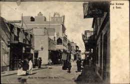 Cp Suez Ägypten, Rue Kormar, Straßenpartie - Cartes Postales
