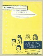 Protège-Cahier Géographie Esquimau Indien Asiatique Noir Amora Moutarde TB.Etat - Moutardes