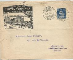 SUISSE 1911 HOTEL TERMINUS NEUCHATEL Enveloppe - Suiza