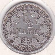 Empire. ½ Mark 1905 A (BERLIN), En Argent - [ 2] 1871-1918 : German Empire