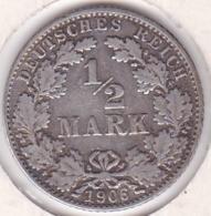 Empire. ½ Mark 1906 D (MUNICH), En Argent - [ 2] 1871-1918 : German Empire