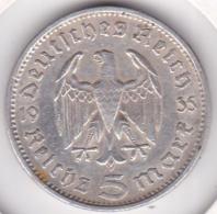 5 Reichsmark 1935 F (STUTGART) Paul Von Hindenburg, En Argent - 5 Reichsmark