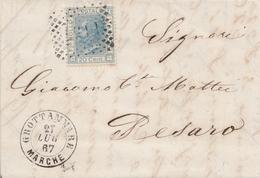 120 - Lettera Con Testo Del 1867 Da Grottammare A Pesaro Con Cent. 20 Azzurro - Annullo Numerale -. - 1861-78 Vittorio Emanuele II