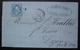 Brives (Corrèze) Guédon Père 1866, Pour Dijon - Postmark Collection (Covers)