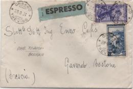 Italia Al Lavoro £. 20 + £. 55 Su Espresso Con Annullo Orsago (Treviso) 28.09.1951 - 6. 1946-.. Repubblica