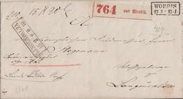 Preussen Paketbegleitbrief R2 Worbis 13.2. Gel. Nach R2 Langensalza 15.2. - Preussen