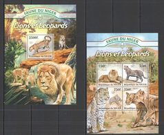 Niger, 2013. [nig13009] Fauna, Lions And Leopards (s\s+bl) - Raubkatzen