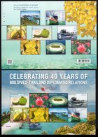 Thailand - Maldives Joint Issue 2019 / 40th Anniversary Of Diplomatic Relations / Flower / Ship / Rose / Island - Joint Issues