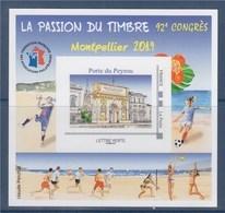 = Bloc FFAP 2019, Montpellier Neuf 42ème Congrès TVP LV Porte Du Peyrou Cadre Gris Philaposte Numéroté 07829 Au Verso - FFAP