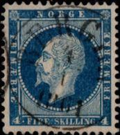 Norway Norge 1856 Oscar I 4 Skil. 1 Value Used Central Cancel Bergen 4 1 1861 - Norvège